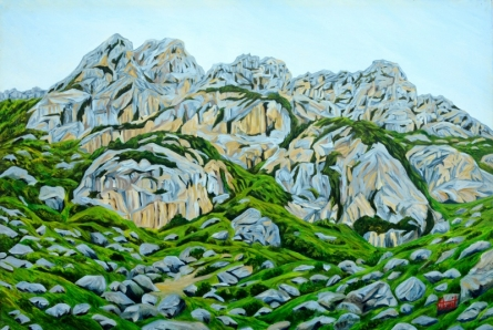 Landscape Oil Art Painting title 'Grey Mountains' by artist Ajay Harit
