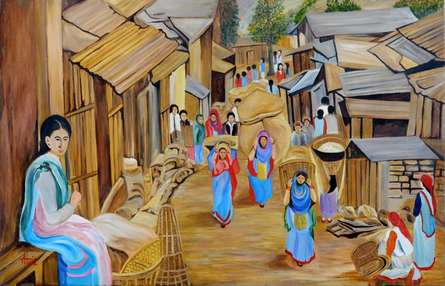 Landscape Oil Art Painting title 'Market Scene' by artist Ajay Harit