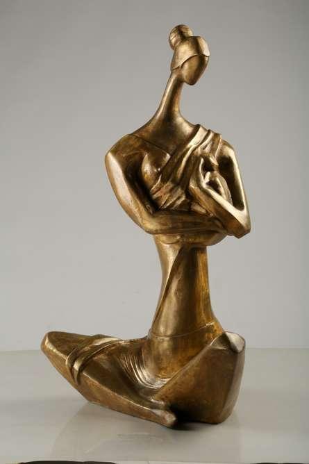 Feeding Mother | Sculpture by artist Tapas Sarkar | Bronze