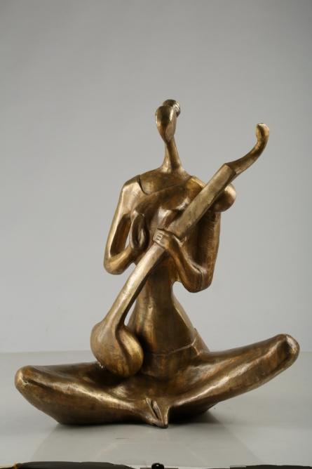 Bronze Sculpture titled 'Saraswati' by artist Tapas Sarkar