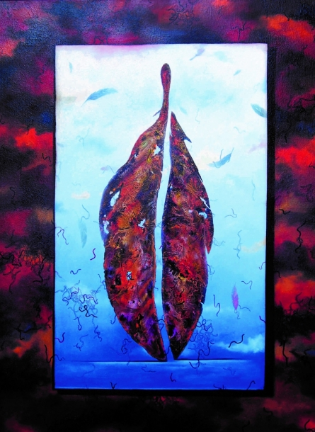 Nature Acrylic Art Painting title 'Plumage Evolution 1' by artist Raosaheb Gagre