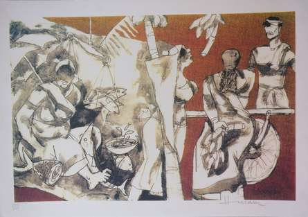 Expressionist Serigraphs Art Painting title 'Kerala Series 1' by artist M F Husain