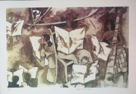 M F Husain | Serigraphs Painting title Kerala Series 2 on Paper | Artist M F Husain Gallery | ArtZolo.com
