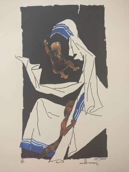 Mother Teresa 7   Painting by artist M F Husain   serigraphs   Paper