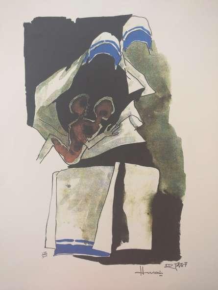 M F Husain | Serigraphs Painting title Mother Teresa 9 on Paper | Artist M F Husain Gallery | ArtZolo.com