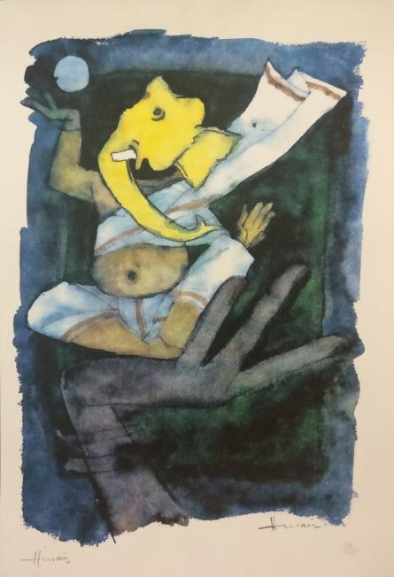 Impressionist Serigraphs Art Painting title Ashtavinayak Series Ganesha 1 by artist M F Husain