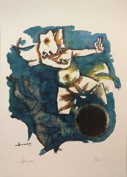 Expressionist Serigraphs Art Painting title 'Ashtavinayak Series Ganesha 3' by artist M F Husain