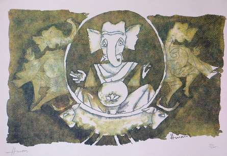 Expressionist Serigraphs Art Painting title Ganesha 1 by artist M F Husain