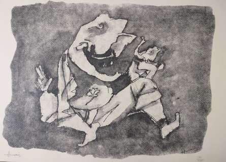 Expressionist Serigraphs Art Painting title 'Ganesh' by artist M F Husain