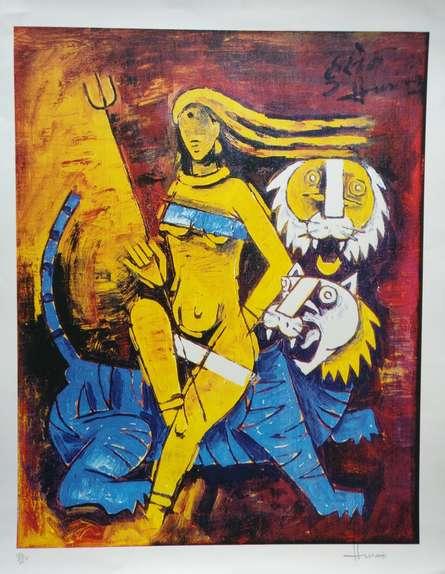 M F Husain | Serigraphs Painting title Untitled on Paper | Artist M F Husain Gallery | ArtZolo.com