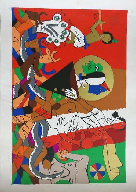 Expressionist Serigraphs Art Painting title 'Mahabharata Series' by artist M F Husain