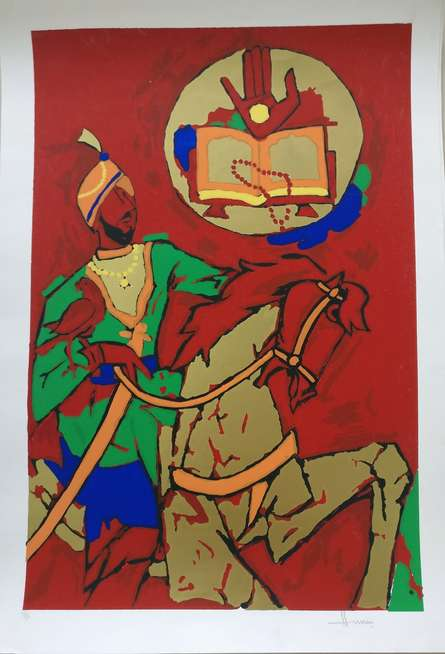 Expressionist Serigraphs Art Painting title 'Theorema Series 8' by artist M F Husain