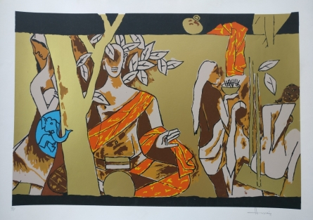 Expressionist Serigraphs Art Painting title Theorema Series 9 by artist M F Husain