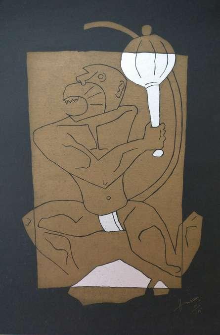 Expressionist Serigraphs Art Painting title 'Hanuman' by artist M F Husain