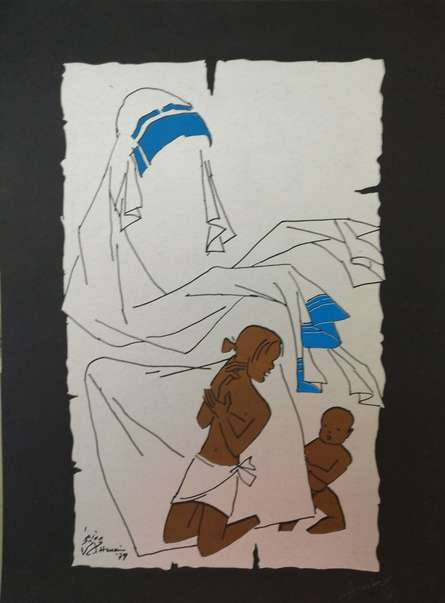 Mother Teresa | Painting by artist M F Husain | serigraphs | Paper