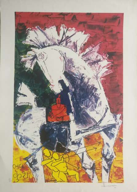Expressionist Serigraphs Art Painting title 'The Horse' by artist M F Husain