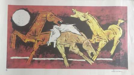 M F Husain | Serigraphs Painting title Horses on Paper | Artist M F Husain Gallery | ArtZolo.com