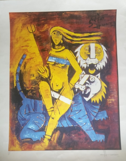 M F Husain | Serigraphs Painting title Untitled 2 on Paper | Artist M F Husain Gallery | ArtZolo.com