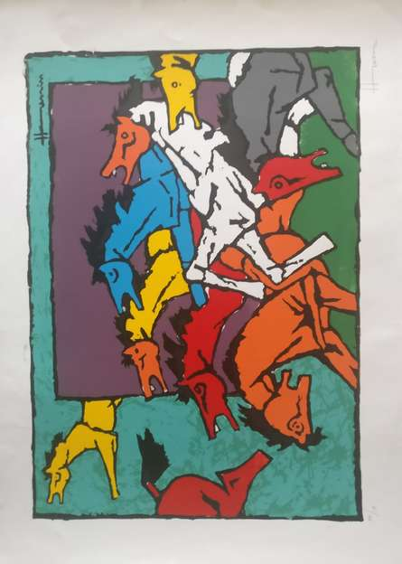 M F Husain | Serigraphs Painting title Horses on Paper | Artist M F Husain Gallery | ArtZolo.com