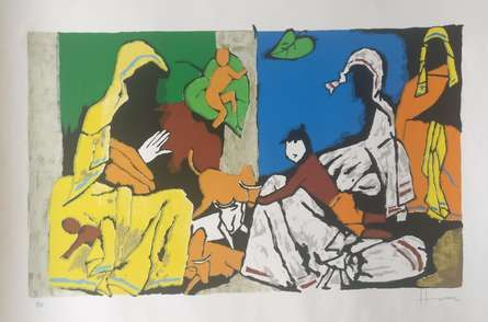 Expressionist Serigraphs Art Painting title Theorema Series 10 by artist M F Husain