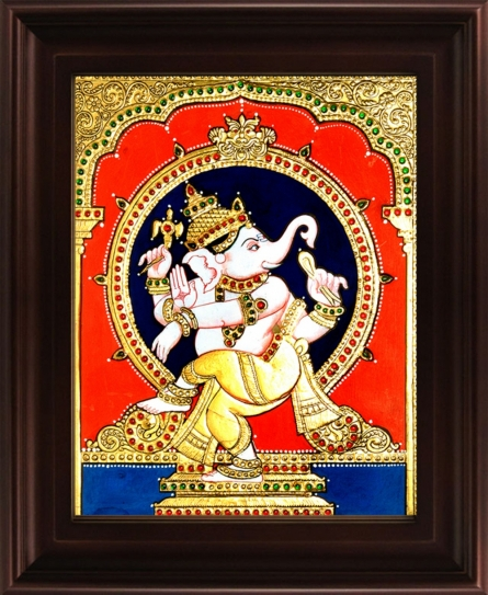 Traditional Indian art title Natya Ganesha Tanjore Painting on Plywood - Tanjore Paintings