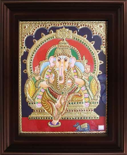 Traditional Indian art title Mantap Ganesha Tanjore Painting on Plywood - Tanjore Paintings