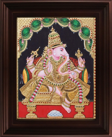 Traditional Indian art title Ganesha Tanjore Painting 4 on Plywood - Tanjore Paintings