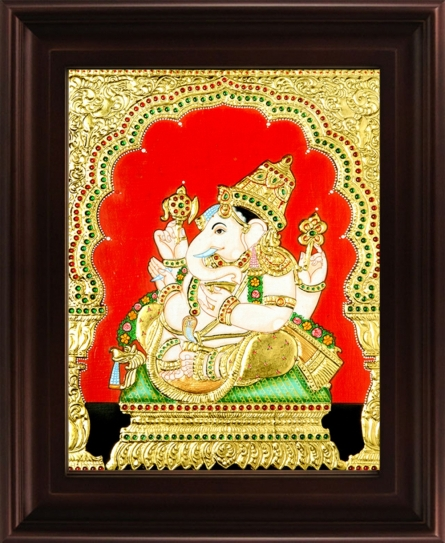 Traditional Indian art title Ganesha Tanjore Painting 5 on Plywood - Tanjore Paintings