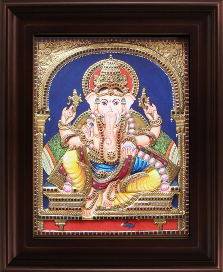 Traditional Indian art title Mantap Ganesha Tanjore Painting 2 on Plywood - Tanjore Paintings