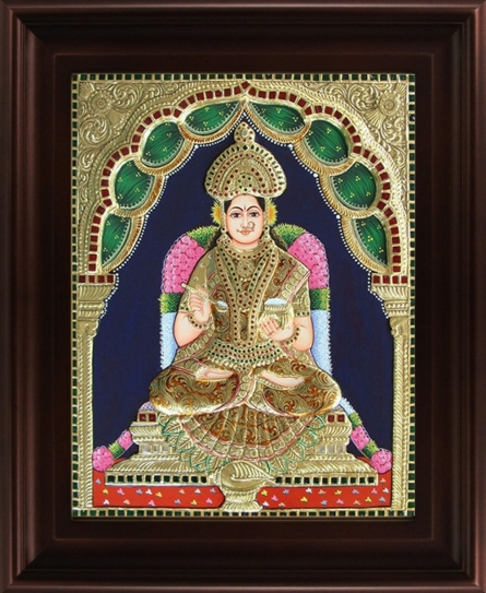 Traditional Indian art title Goddess Annapoorani Tanjore Painting on Plywood - Tanjore Paintings