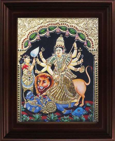 Traditional Indian art title Goddess Durga Tanjore Painting on Plywood - Tanjore Paintings