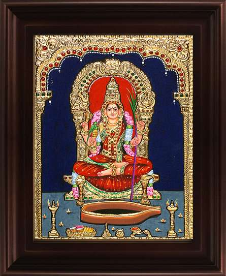 Traditional Indian art title Kamatchi Devi Tanjore Painting on Plywood - Tanjore Paintings