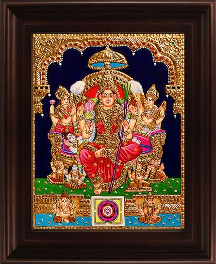 Traditional Indian art title Lalithambigai Tanjore Painting on Plywood - Tanjore Paintings