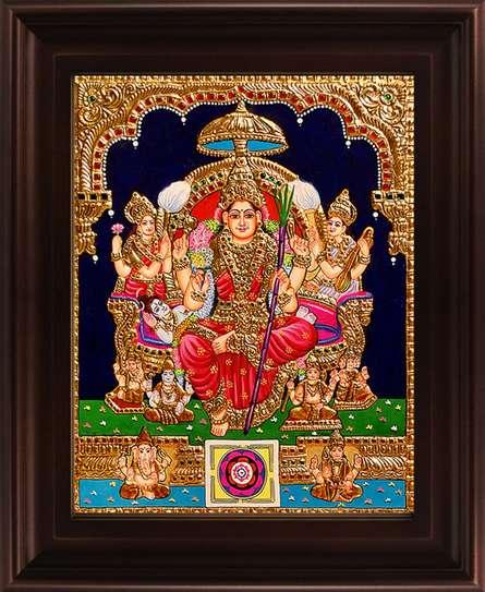 Myangadi Tanjore | Tanjore Traditional art title Lalithambigai Tanjore Painting on Plywood | Artist Myangadi Tanjore Gallery | ArtZolo.com