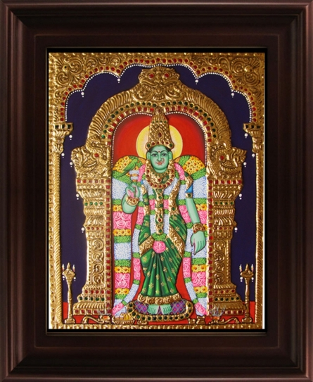 Traditional Indian art title Meenakshi Tanjore Painting on Plywood - Tanjore Paintings