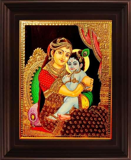 art,painting,folk,tanjore,precious,gold,foil,south,indian