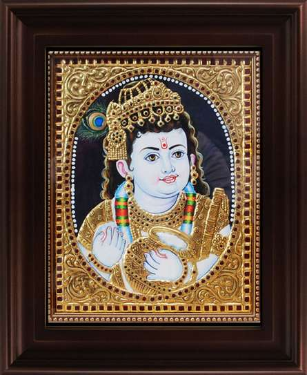 Myangadi Tanjore | Tanjore Traditional art title Butter Krishna Tanjore Painting on Plywood | Artist Myangadi Tanjore Gallery | ArtZolo.com