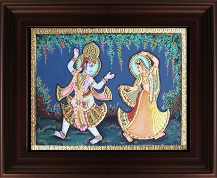 Traditional Indian art title Radha Krishna Dancing Tanjore Painting on Plywood - Tanjore Paintings