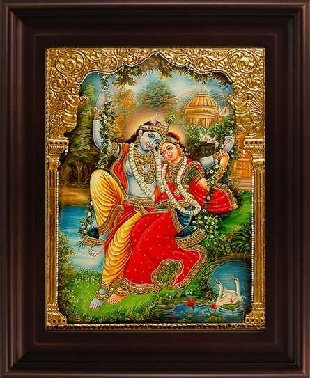 Traditional Indian art title Swinging Radha Krishna Tanjore on Plywood - Tanjore Paintings