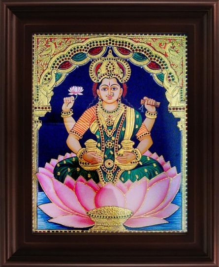 Traditional Indian art title Dhana Lakshmi Tanjore Painting 2 on Plywood - Tanjore Paintings