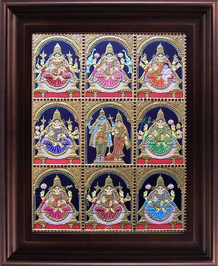 Traditional Indian art title Ashta Lakshmi Tanjore Painting on Plywood - Tanjore Paintings
