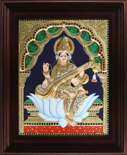 Traditional Indian art title Saraswathi Tanjore Painting on Plywood - Tanjore Paintings