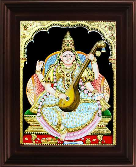 Traditional Indian art title Saraswathi Tanjore Painting 2 on Plywood - Tanjore Paintings