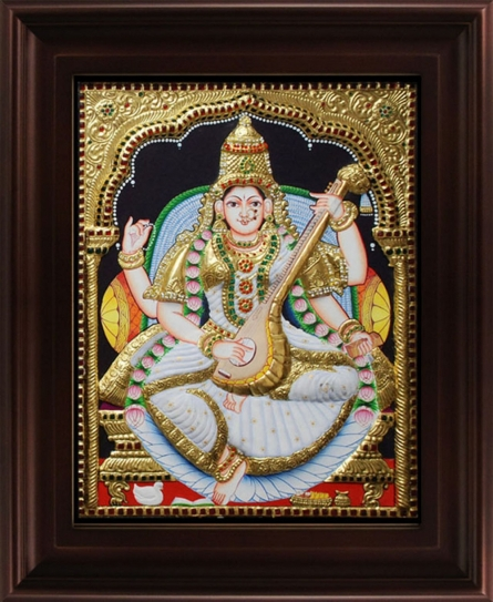 Traditional Indian art title Saraswathi Tanjore Painting 3 on Plywood - Tanjore Paintings