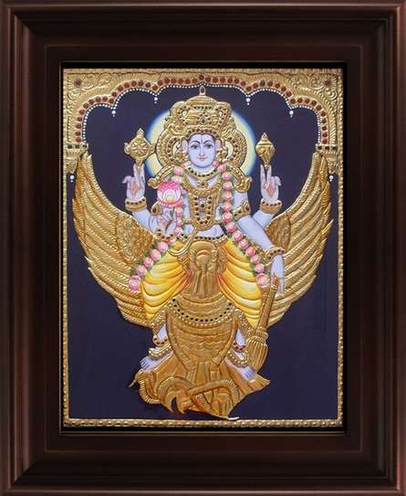 Traditional Indian art title Vishnu Karudan Tanjore Painting on Plywood - Tanjore Paintings