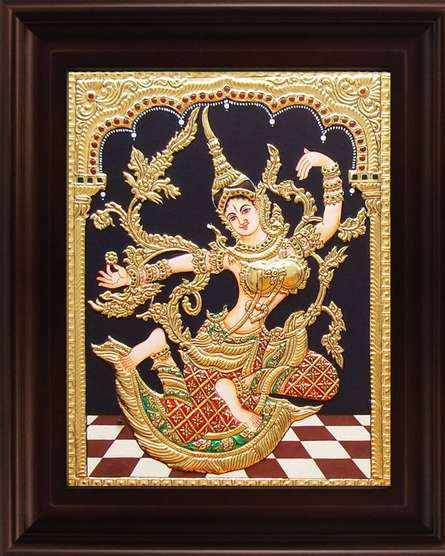 Traditional Indian art title Indonesian Sita Red Tanjore Painting on Plywood - Tanjore Paintings