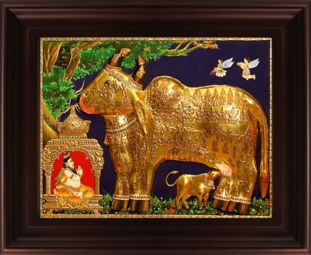 Traditional Indian art title Kamadhenu Gold Tanjore Painting on Plywood - Tanjore Paintings