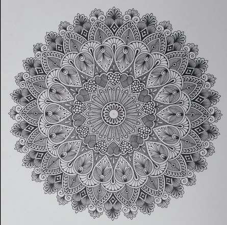 pattern Pen-ink Art Drawing title 'Design Mandala 1' by artist V Pugalenthi