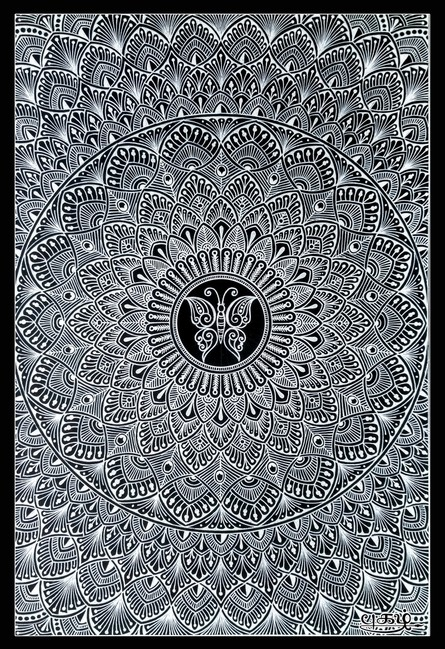 Pen-ink Paintings | Drawing title Black Mandala on Paper | Artist V Pugalenthi