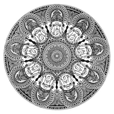 Religious Pen-ink Art Drawing title 'Ganesha Mandala' by artist V Pugalenthi